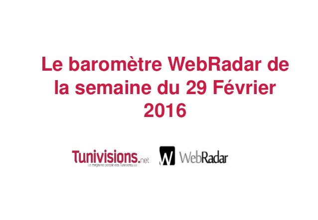 Baromètre WebRadar de la semaine du 29 Février 2016