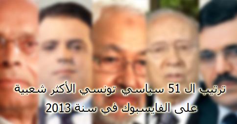 ترتيب ال 51 سياسي تونسي الأكثر شعبية على الفايسبوك في سنة 2013