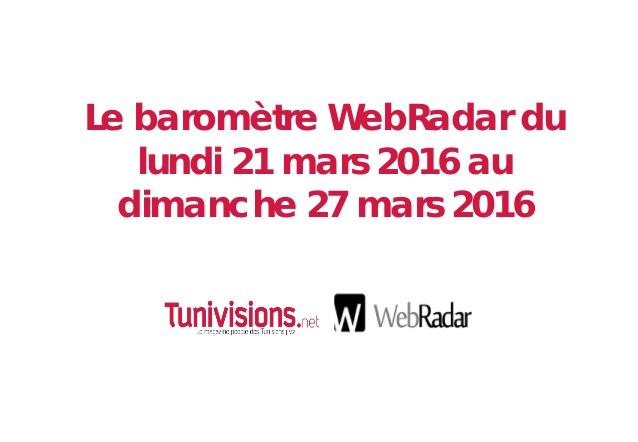 Le baromètre WebRadar de la semaine du 21 Mars 2016