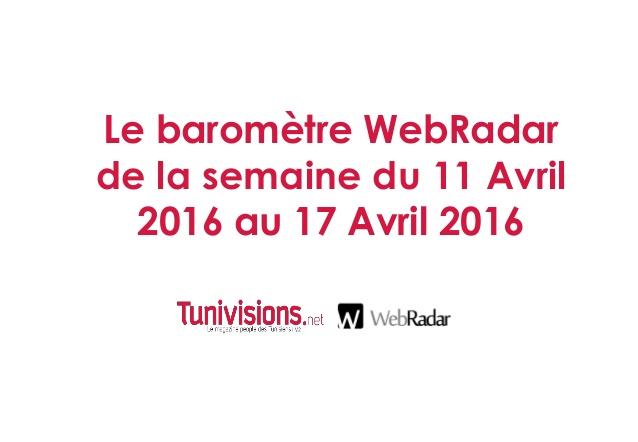 Le baromètre WebRadar de la semaine du 11 Avril 2016