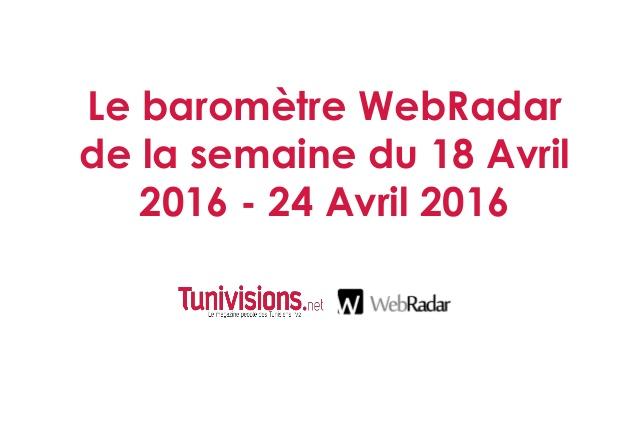 Le baromètre WebRadar de la semaine du 18 Avril 2016 au 24 Avril 2016